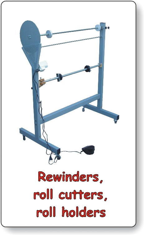 Rewinders, core cutters, roll holders